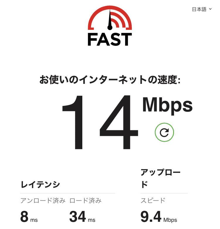 7SPOTのWiFiの速度